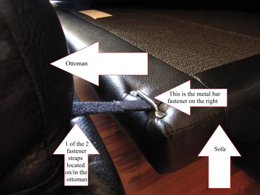 2 straps on the ottoman and 2 bars on the couch act like a hook and eye system to hold the sofa firmly to the ottoman