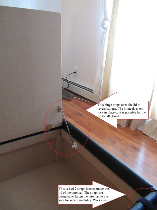Here you see the hinge which supports the top of the ottoman, as well you will notice 1 of the 2 connecter straps (are available at an additional cost)